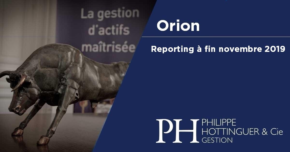Orion : reporting à fin novembre 2019